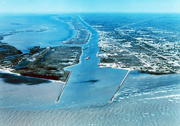 Aerial view of Port O'Connor, Texas.