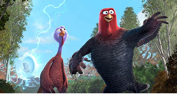 "Turkeys head to the past in ""Free Birds."""