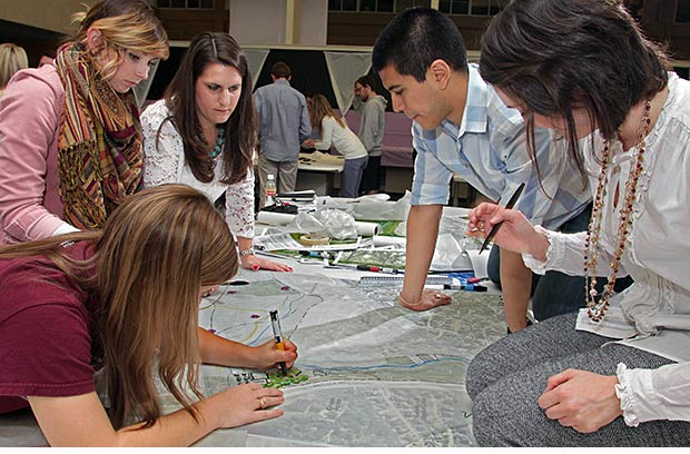 Landscape architecture students create a design during 2013 Aggie Workshop. Texas A&M's landscape architecture and architecture programs once again were named as among the top in the nation in an annual survey.