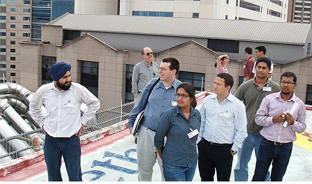 Facility management students tour hospital.