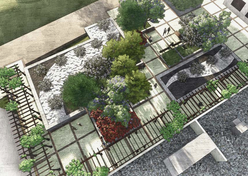 Land students design concepts aim to lure rellis staff for Courtyard architecture design