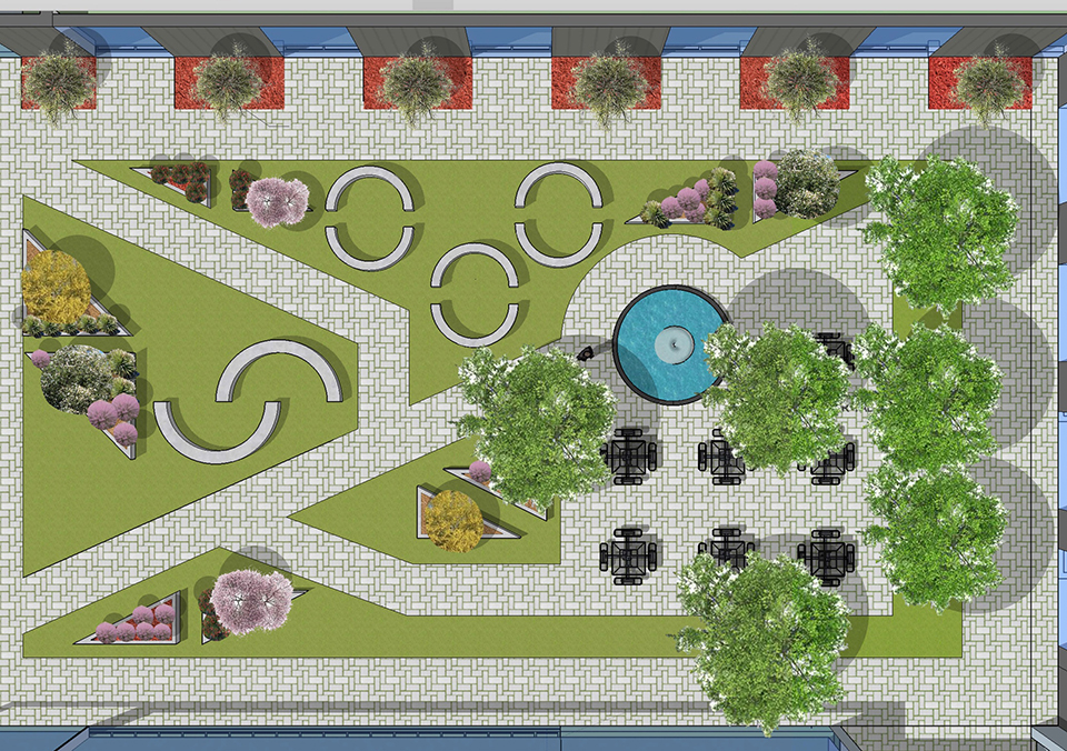 A courtyard design concept by Matthew Larkam.