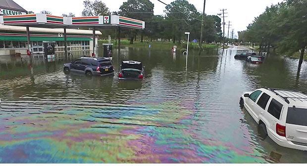 Flooding in Norfolk, Va., caused by Hurricane Matthew in 2016. The city's planners have adopted a scorecard developed in part by Texas A&M researchers to evaluate the city's hazard plans.