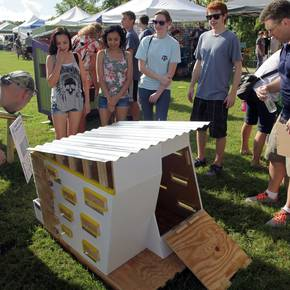 Sustainably-designed doghouses benefit Brazos Valley charities