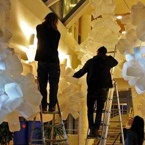 He's 'Cloud Igloo' transforms vibe in Stockholm building entry space