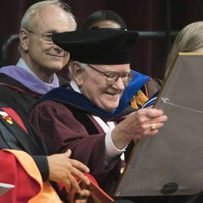 Distinguished alum Adams '61 received honorary Texas A&M Ph.D. at spring commencement