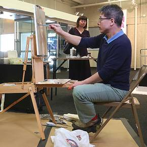 Famed hyperrealist artist created new portrait in Wright Gallery