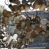 Students use recycled materials to craft installations along walkway